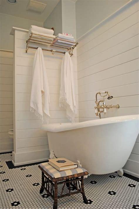 cottage full bathroom  clawfoot penny tile floors