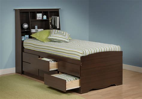 Tall Captains Platform Storage Bed W Bookcase Headboard