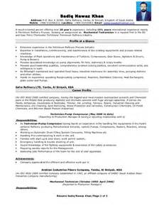 resume mechanical technician and gas mechanical technician resume resume format