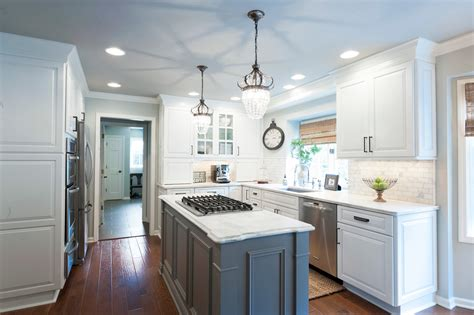 white kitchen with gray island new kitchen with charm indy 1835
