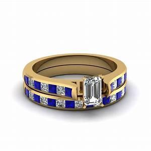 Emerald cut channel set diamond wedding ring sets with for Emerald cut diamond wedding ring sets