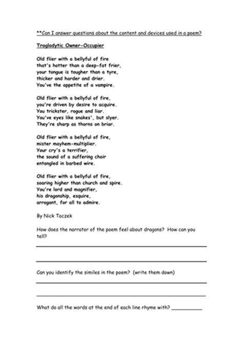 dragon poetry comprehension yr   ellieteacher