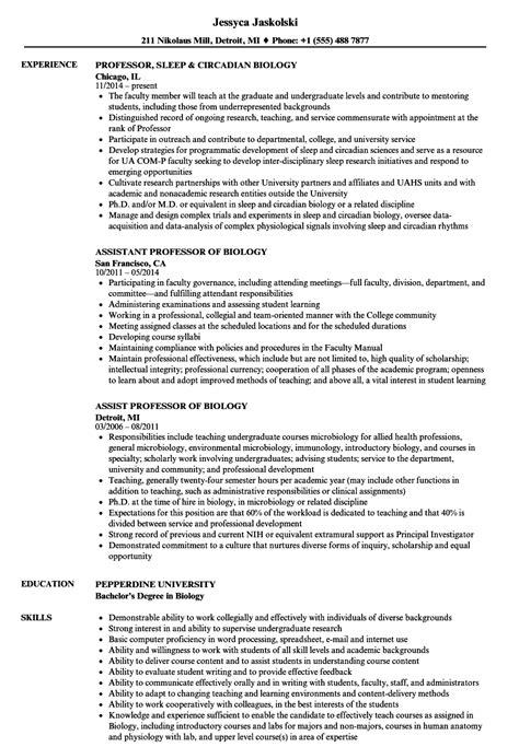 Professor Resume by Biology Professor Resume Sles Velvet