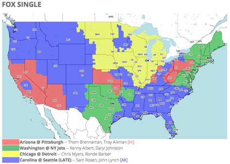 nfl tv schedule  coverage map week