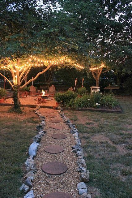 lights  trees surrounding firepit pictures