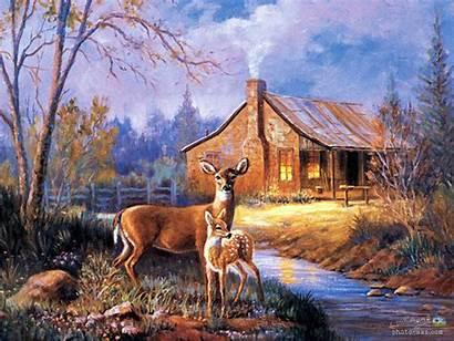 Deer Cabin Painting Hunting Wildlife Autumn Lodge