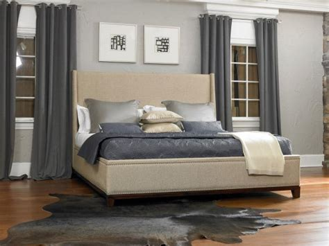 gray contemporary bedroom  upholstered beige bed hgtv
