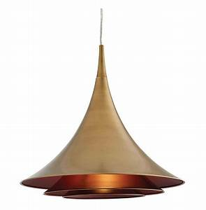 Vesper modern industrial antique brass cone pendant light