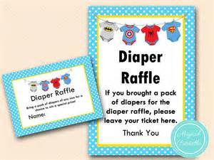 Superhero Baby Shower Diaper Raffle Sign