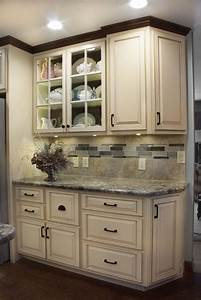 Kitchen, With, White, Distressed, Finish, And, Dark, Glaze, Accent