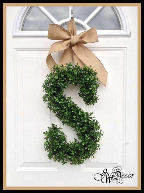 monogram wreath wreaths year  wreath door arificial