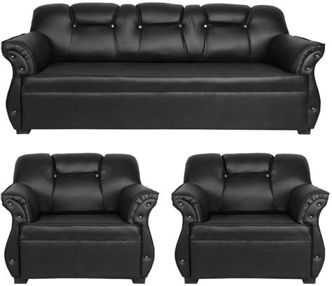Sofa Price by Homestock Leatherette 3 1 1 Black Sofa Set Price In