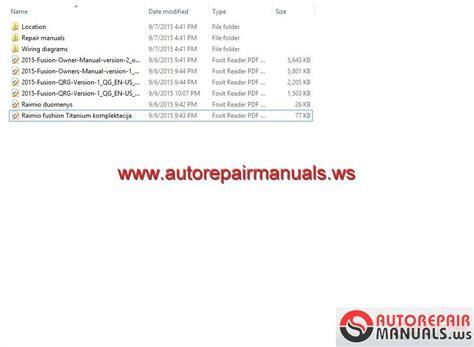 ford fusion  usa workshop manual auto repair manual