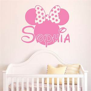 girl name wall decal minnie mouse wall decals personalized With girl wall decals