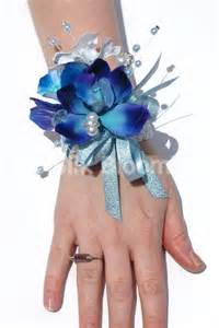 wrist corsage bracelet stunning galaxy blue orchid stephanotis wedding wrist