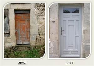 porte entree principale cadre peinture restauration With renover une porte en bois