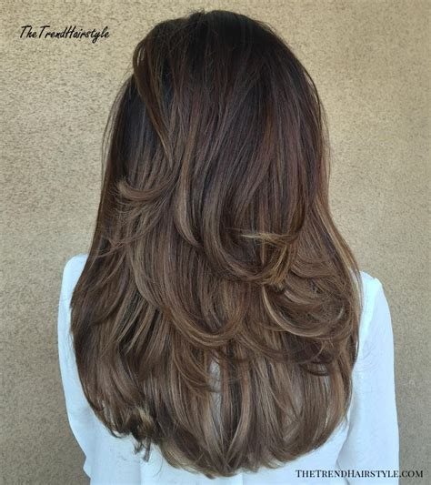 Mid Back Brown U Cut with Swoopy Layers 80 Cute Layered