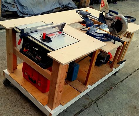 mobile workbench  built  table miter saws  steps  pictures
