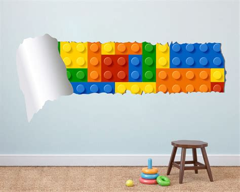 Lego Bedroom Wall Decals by Lego Effect Style Torn Wall Decal Vinyl Sticker For