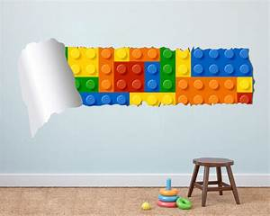 lego effect style torn wall decal vinyl sticker for With lego wall decals