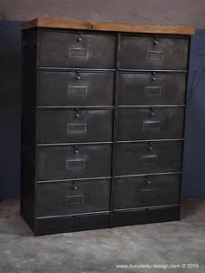 Meuble Industriel Vintage : ancien meuble 10 casiers industriel a clapet roneo ~ Teatrodelosmanantiales.com Idées de Décoration