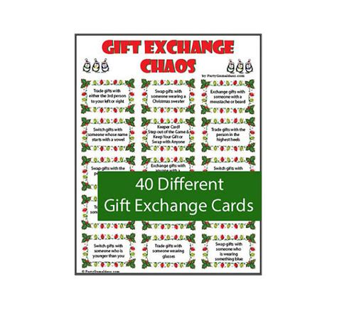 gift exchange chaos 40 printable gift exchange cards for