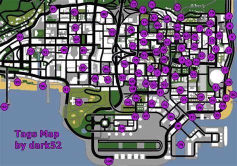 San Andreas Tag Locations Map For Pc By