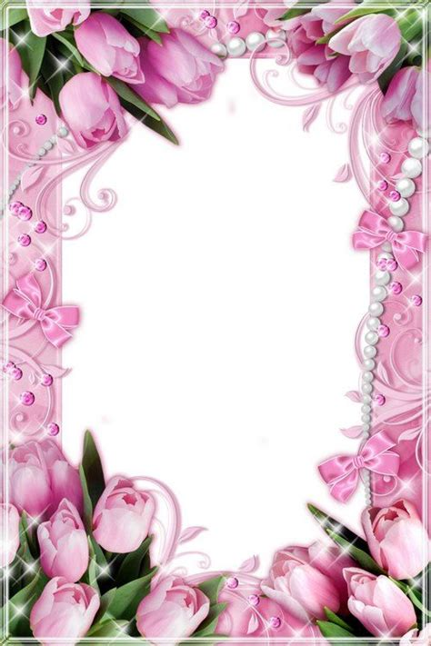 flower frames  pink  white tulips   march