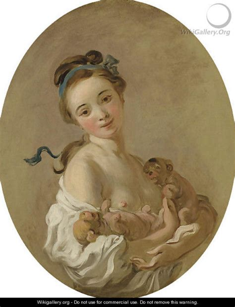Young Girl Holding Two  Ee  Puppies Ee   Jean Honore Fragonard
