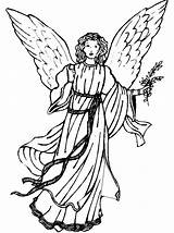 Coloring Angel Pages Christmas Angels Previous sketch template
