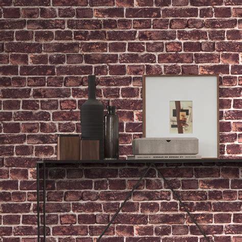 papier peint intiss 233 imitation mur de briques rouge