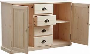 Meuble Bas Bois : meuble bois brut 2 portes 4 tiroirs ~ Teatrodelosmanantiales.com Idées de Décoration