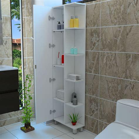 tall corner bathroom 5 side shelf cabinet storage with 1
