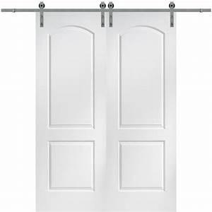 mmi door 72 in x 96 in continental molded solid core With 96 inch barn door hardware