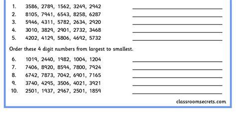 ordering 4 digit numbers classroom secrets