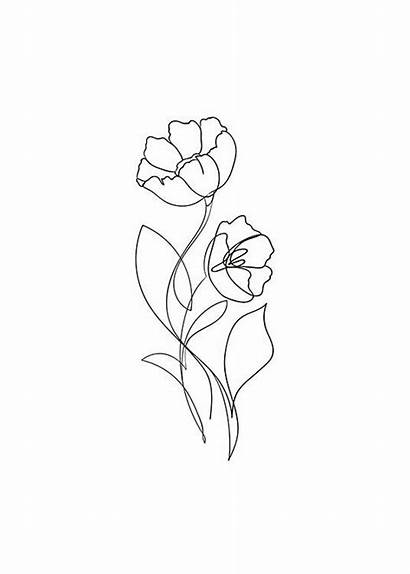 Line Flower Drawings Blume Tattoo Einer Quotes