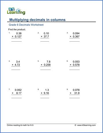 multiplying decimals worksheets 6th grade multiplying