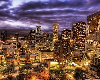 Houston Skyline Night Wallpapers Desktop Background Related
