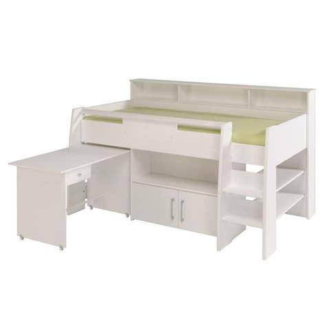 lit mezzanine bureau pas cher dave lit combiné 90cm bureau rangement blanc achat