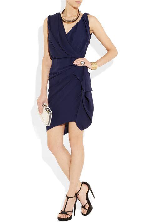 Lanvin Draped Dress - lyst lanvin silk draped dress in blue