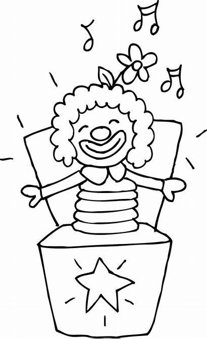 Jack Box Toy Coloring Clip Colorable Clipart