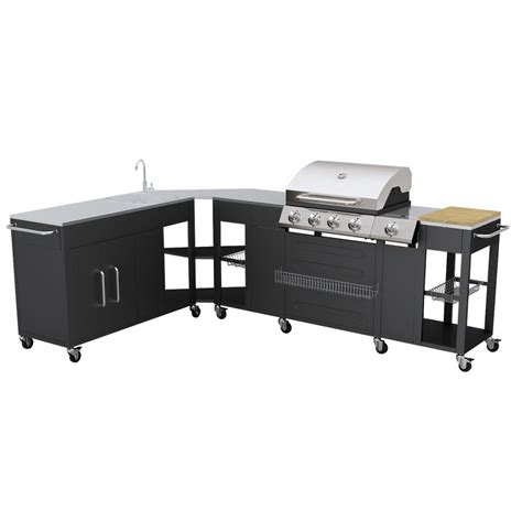 outdoor mobile kitchen gas 4burners garden barbecue