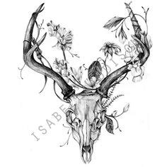 deer skull  flowers temporary tattoos einfache