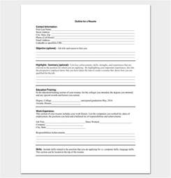 blank resume form pdf resume outline template 19 for word and pdf format