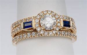 14kt yellow gold 3 ring halo wedding set with sapphire for Wedding ring sets with sapphire accents