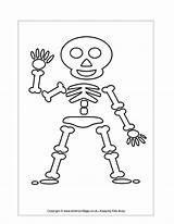 Skeleton Halloween Coloring Printable Pages Templates Cut Preschoolers Crafts Colouring sketch template