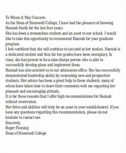 Sample Letter Of Recommendation For Graduate School Admission Free 27 Recommendation Letter Templates In Ms Word Pdf