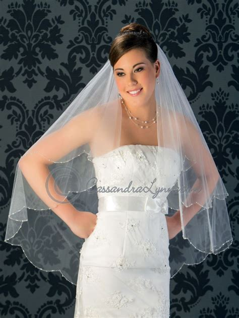 Wedding Veil With Scalloped Edge Of Rhinestones Pearls And