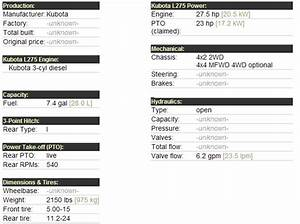 Kubota L275 - Specifications