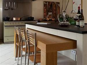 ilot de cuisine avec table integree cuisines pinterest With ilot avec table integree